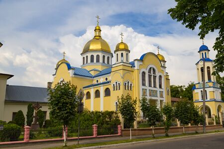 City Zhovkva, Lviv region, Ukraine. Orthodox church of the Holy Apostles Peter and Paul, outdoor. Banco de Imagens