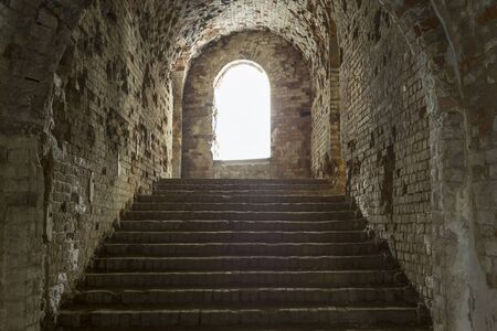 Tarakaniv ( Dubno) ruined fortress, fortification. Tarakanovskiy fort. Ukraine. Abandoned fortress inside, Dungeon staircase. Dungeon staircase. Tourist landmark