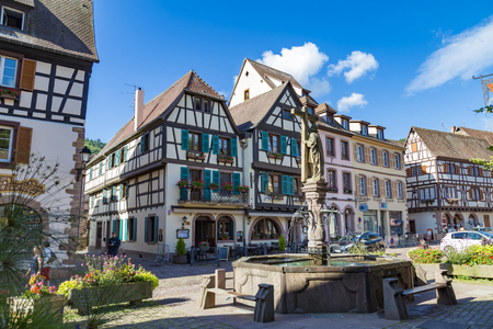 14.08. 2019. Small town Kaysersberg, region Alsace. France. Colorful street of medieval centre at summer. Tourism on the Alsace Wine Route. Famous tourism destination, tourist landmark.