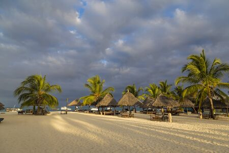 Morning on the ocean coast. Umbrellas and palm trees on the beach. Ocean shore of Zanzibar island. Holiday paradise. Village Kendwa, Tanzania, Africa. Tourist destination, beach holiday, relaxation