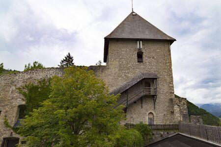 Ancient ruined Gallenstein Castle, stone citadel on top of a mountain. Municipality of Sankt Gallen,  Styria, Austria. Tourist landmark