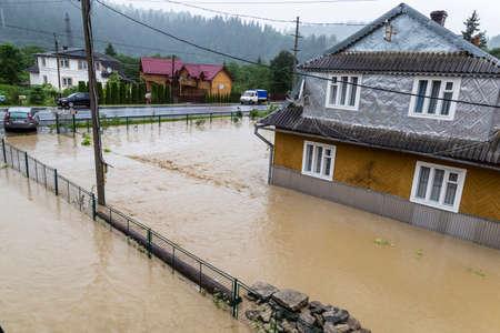 07.23.2020 Yaremche village, Carpathian region, Ukraine. Flooding caused by heavy rains. Flooding of houses. Disaster