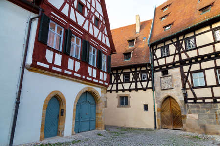 Empty ancient street with colorful houses in old town Bamberg. Germany Famous tourism destination, tourist attraction