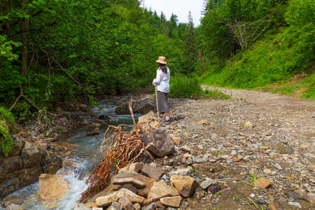 Woman - hiker in the forest near the small mountain river. Summer holidays in the Carpathian mountains. Ukraine. Tourism, active lifestyle