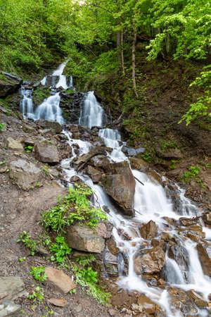Cascade Trufanets Falls in Carpathian mountains Stock fotó