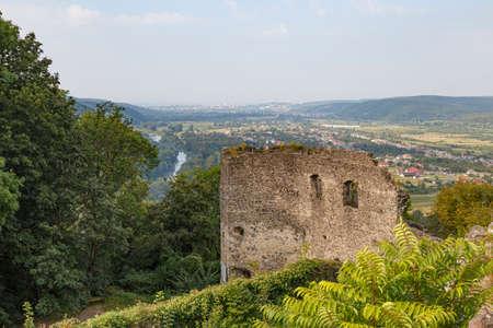 View from ruins of medieval Nevytsky (Nevytske) castle on mountain valley. Transcarpathian region. Ukraine. Tourism destination, tourist landmark.