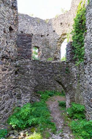 Ruins of medieval Nevytsky (Nevytske) castle inside. Transcarpathian region. Ukraine. Tourism destination, tourist landmark.