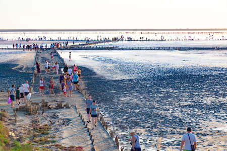 07/23/2020 Salty system of lagoons Syvash, Sea of Azov. Ukraine. Salt lake with medicinal mud, former production of salt mining. Many tourist visit landscape and natural attraction.