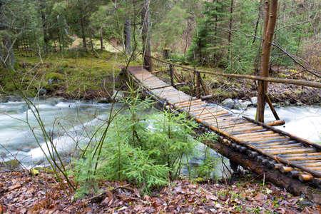 Homemade wooden pedestrian bridge over a fast mountain river in a deep forest. River Stiavnica. Janska valley (Jánská Dolina), Liptovsky Jan. Low Tatras. Slovakia. Forest mountain landscape. Standard-Bild