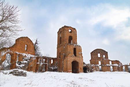 Ruins of ancient destroyed Korets castle outdoor at winter. Koretsk city. Rivne region. Ukraine. Tourist attraction.