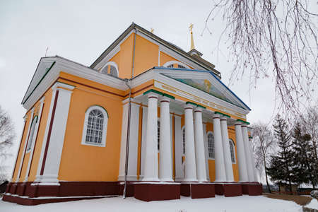 View of the old Orthodox Church of St. Nicholas (Nicholas cathedral), at winter. Koretsk city. Rivne region. Ukraine. Standard-Bild