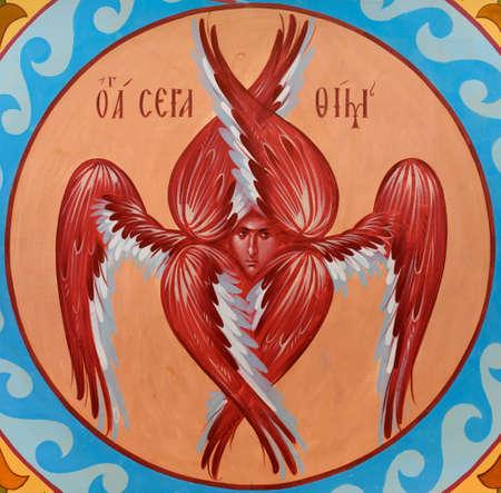 UKRAINE, ODESSA– SEPTEMBER, 15, 2015: Icon of the six-winged seraph.