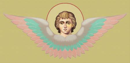 UKRAINE, ODESSA REGION, VILLAGE DOBROALEKSANDROVKA - JULY, 29, 2013: Icon of an angel.