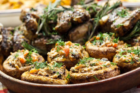 Freshly cooked sausages on a grill close-up. A background of sausages cooked on charcoal. Stock Photo