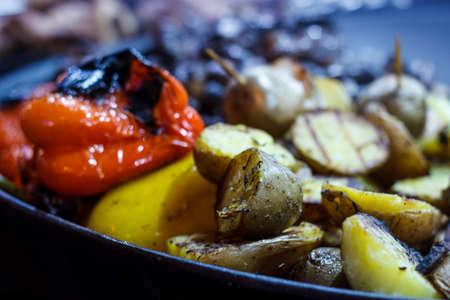 Freshly cooked grilled vegetables, tomatoes, mushrooms, eggplant, pepper ...