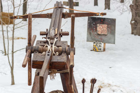 Crossbow. Arrows for archery and crossbow shooting. National sports entertainment in the open air.