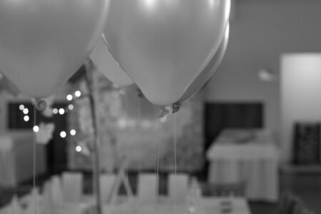 Wedding table decoration with balloons Stock Photo