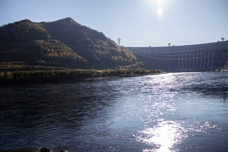 A large and very high hydroelectric dam in Russia.