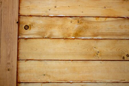 The corner of the wooden house. Close-up. Background. Texture.