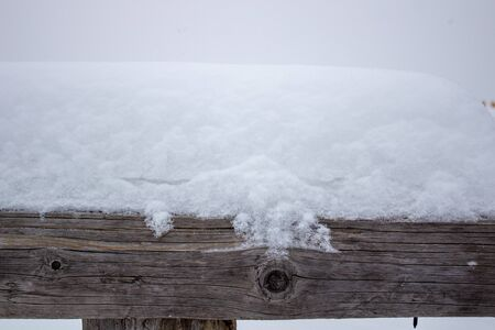 Wooden beam under the snow. Winter with snow