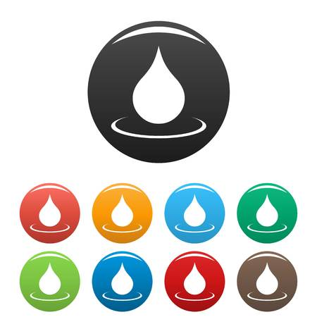 Water drop icons set. Vector simple set of water drop vector icons in different colors isolated on white Ilustração