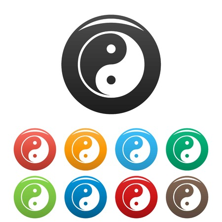 yin y yan: Ying yang symbol of harmony and balance icons set. Vector simple set of ying yang vector icons in different colors isolated on white Vectores