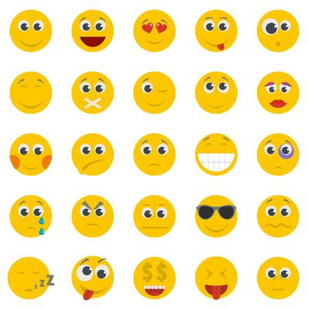 A smile icon set isolated. Flat illustration of 50 smile vector icons for web.