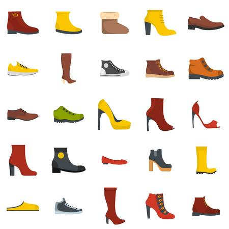 Footwear shoes icon set isolated. Flat illustration of 25 footwear shoes vector icons for web. Vektorové ilustrace