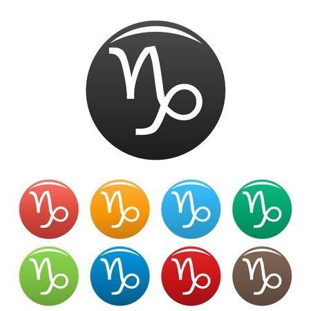 capricornio: Capricorn zodiac sign icons set vector simple