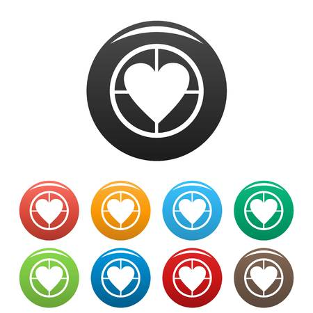 Gunpoint heart icons set. Vector simple illustration of gunpoint heart icons isolated on white background Illustration