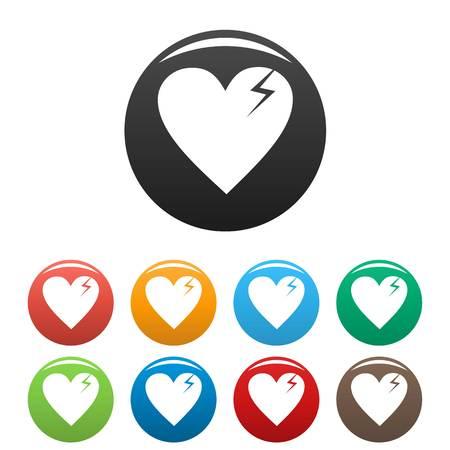 Broken heart icons set. Vector simple illustration of broken heart icons isolated on white background Illustration
