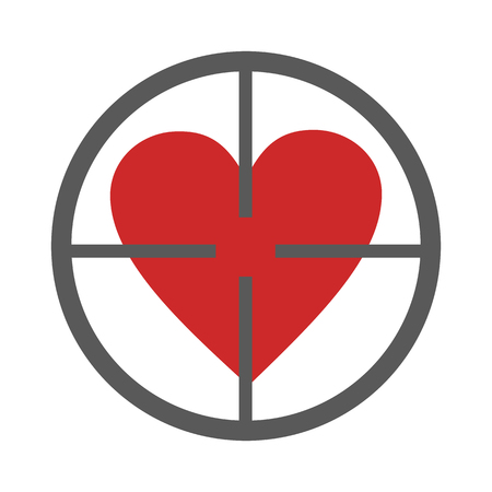 Gunpoint heart icon vector simple Illustration