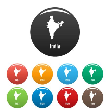 India map in black set vector simple Illustration