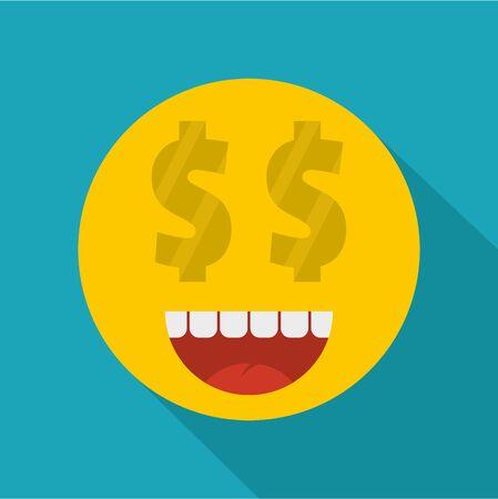 Money smile icon vector illustration on green background. Illustration