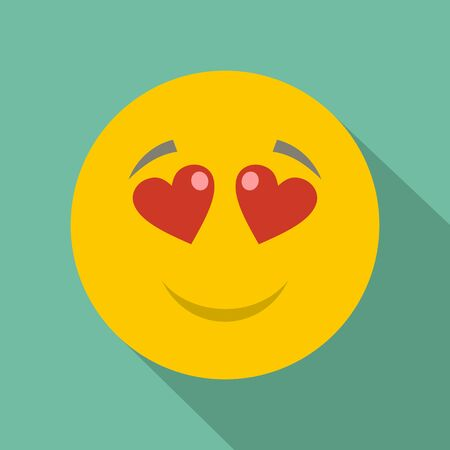 celebration smiley: Love smile icon vector flat