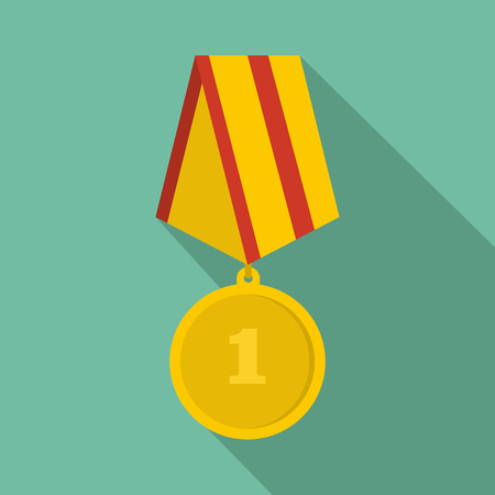 Medal icon. Flat illustration of medal vector icon for any web design.