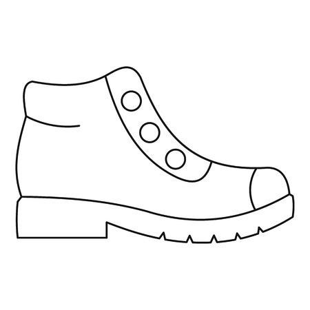 Icono de botas de senderismo. Ilustración de línea delgada de caminar botas vector icono para cualquier diseño web