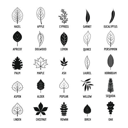 Conjunto de iconos de hoja, estilo simple