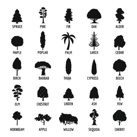 Conjunto de iconos de árbol, estilo simple Ilustración de vector
