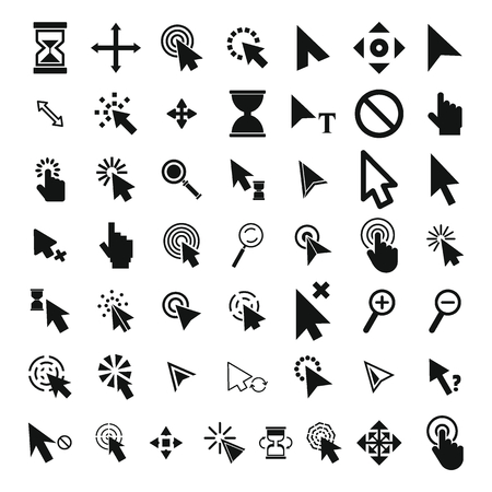 Mouse cursor icons set. Simple illustration of 50 Mouse cursor vector icons for web.