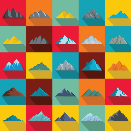 Set of mountain icons in flat style illustration. Banco de Imagens - 89940061
