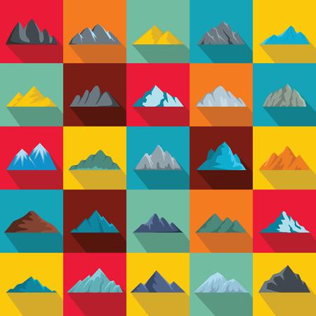 Set van berg pictogrammen in vlakke stijl illustratie.