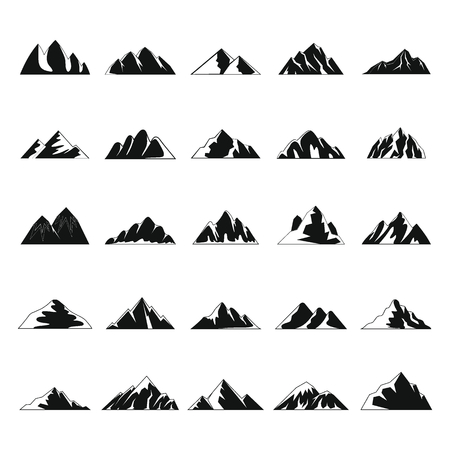 Set of mountain icons in simple style illustration.