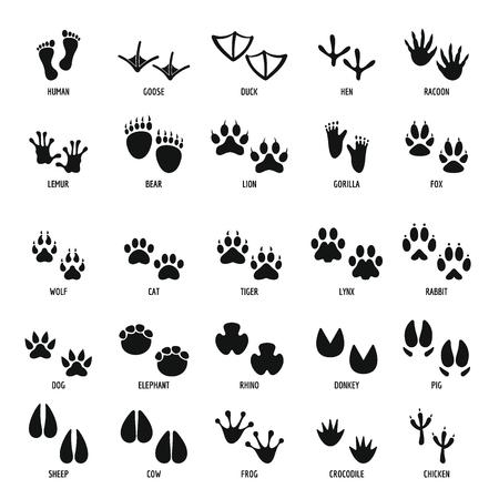 Animal footprint icons set, simple style