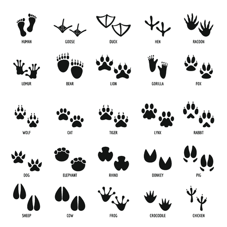 Animal footprint icons set, simple style