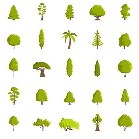 Conjunto de iconos de árbol. Ilustración plana de 25 iconos de árbol, aislado sobre fondo blanco.