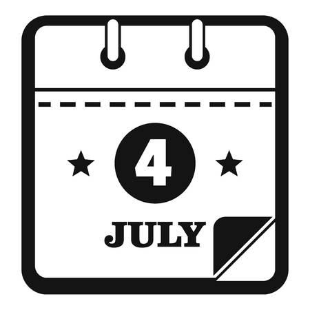 Calendar eleventh november icon. Simple illustration of calendar fourth july vector icon for web Vettoriali
