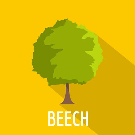 Icono de haya. Ilustración plana del icono de vector de árbol de haya para web