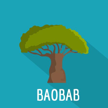 Baobab tree icon. Flat illustration of baobab tree vector icon for web Illustration