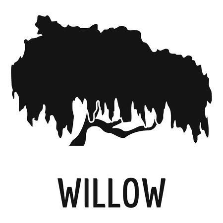 Ikona drzewa wierzby. Prosta ilustracja ikony drzewa wierzby dla sieci web. Ilustracje wektorowe